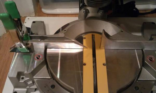 mitre saw setup for cutting hockey sticks