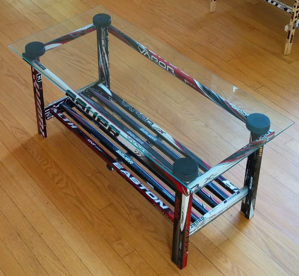 Coffee Table Glass Top Hockey Stick Builds