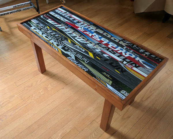 hockey stick wood table