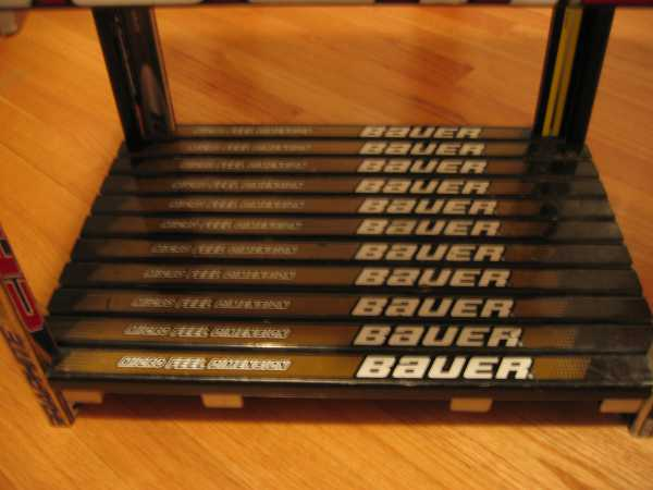 Hockey stick nightstand bottom shelf