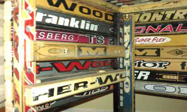 Hockey stick nightstand inside