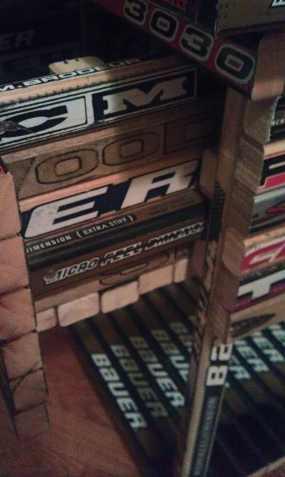 hockey stick nightstand drawer open